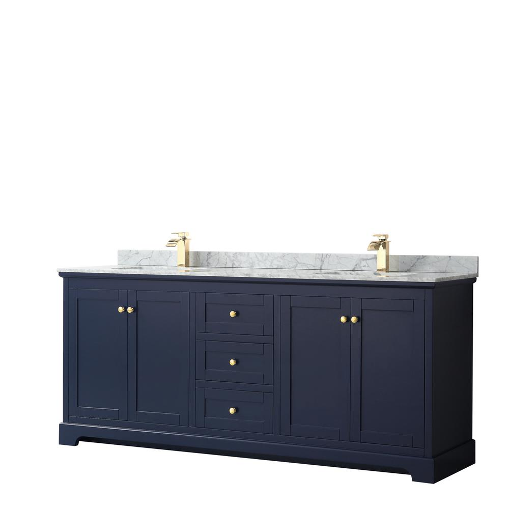 Wyndham Collection Avery 80 in. W x 22 in. D Bathroom Vanity in Dark Blue with Marble Vanity Top in White Carrara with White Basins