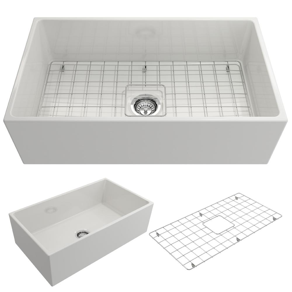 Bocchi Contempo Farmhouse A Front Fireclay 33 In Single Bowl Kitchen Sink With Bottom Grid And Strainer White