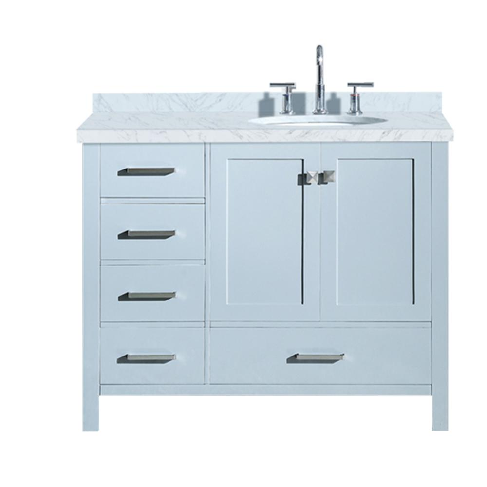 Ariel Cambridge 43 in. Bath Vanity in Grey with Marble Vanity Top in Carrara White with White Basin