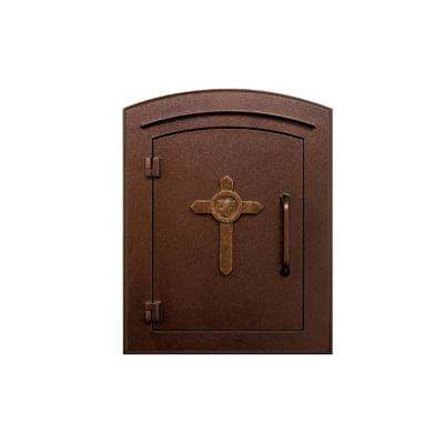 Manchester Antique Copper Column Mount Non-Locking Mailbox with Cross Logo