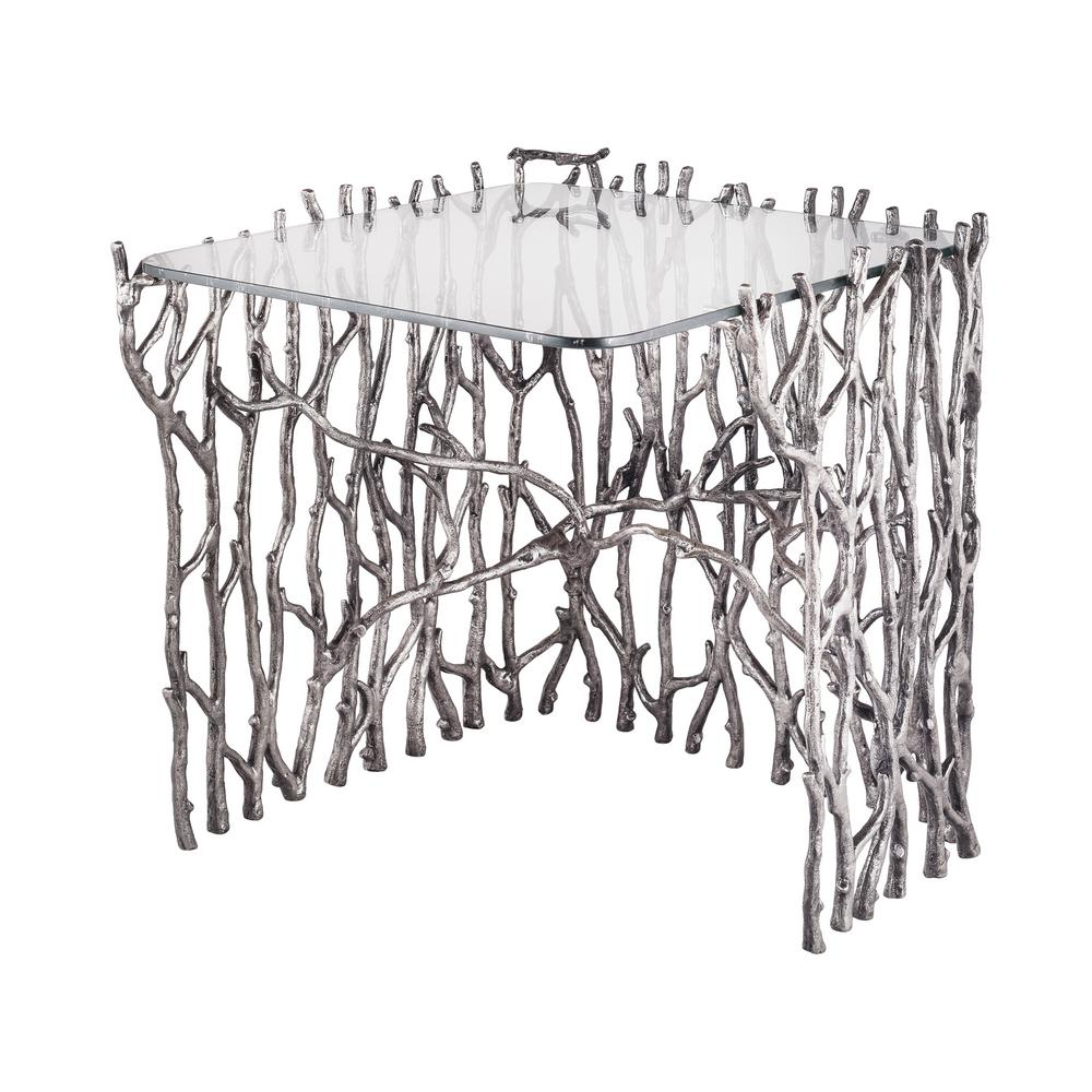 Titan Lighting Small Silvered Sticks Metal In Antique Nickel Side Table