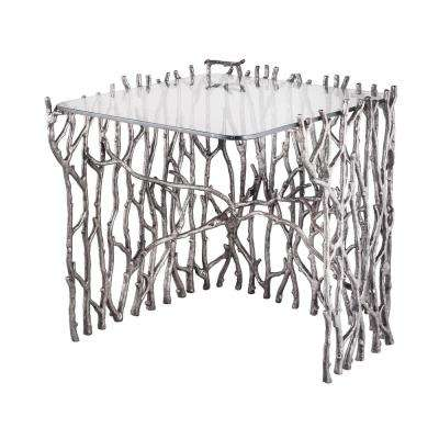 Small Silvered Sticks Metal in Antique Nickel Side Table