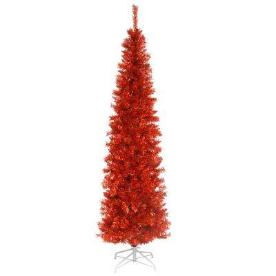 6 ft red tinsel artificial christmas tree