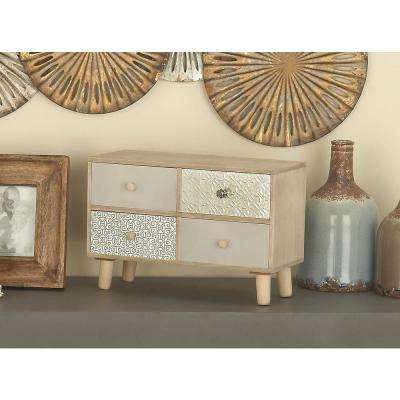 10 in. x 16 in. 4-Drawer Wooden Jewelry Box