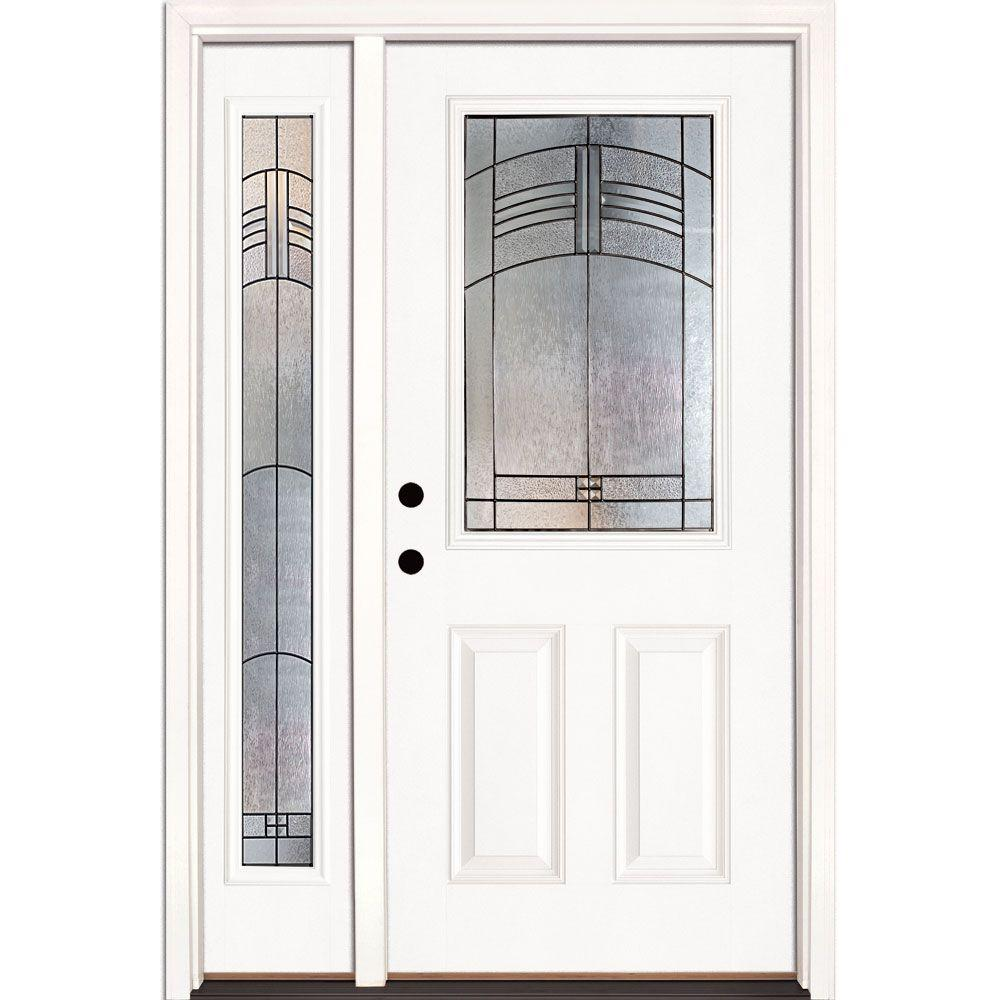 Feather River Doors 50.5 in. x 81.625 in. Rochester Patina 1/2 Lite Unfinished Smooth Right-Hand Fiberglass Prehung Front Door with Sidelite