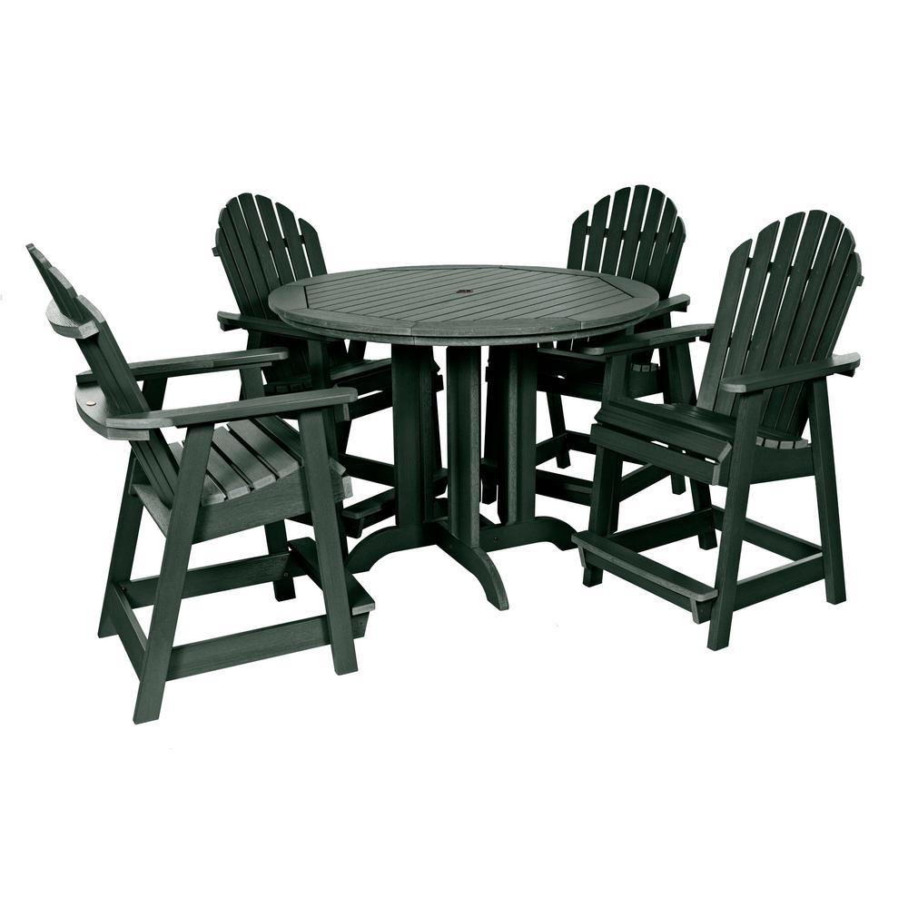 Muskoka Charleston Green 5-Piece Plastic Round Counter Height Outdoor Dining Set