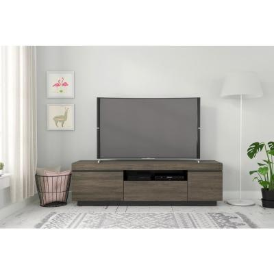 Lima 68 in. Bark Grey and Black TV Stand