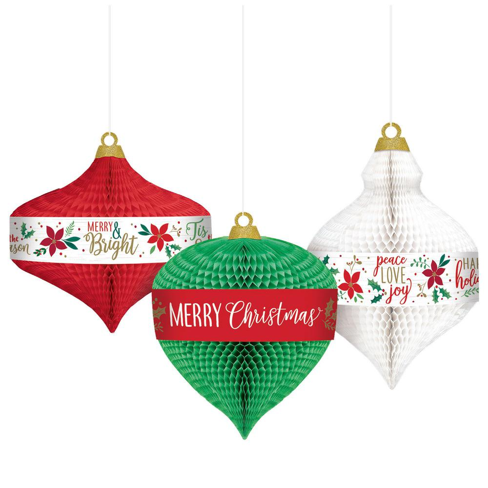 Christmas Wall Hanging Decorations.Amscan 11 In Traditional Christmas Honeycomb Hanging Decorations 2 Pack