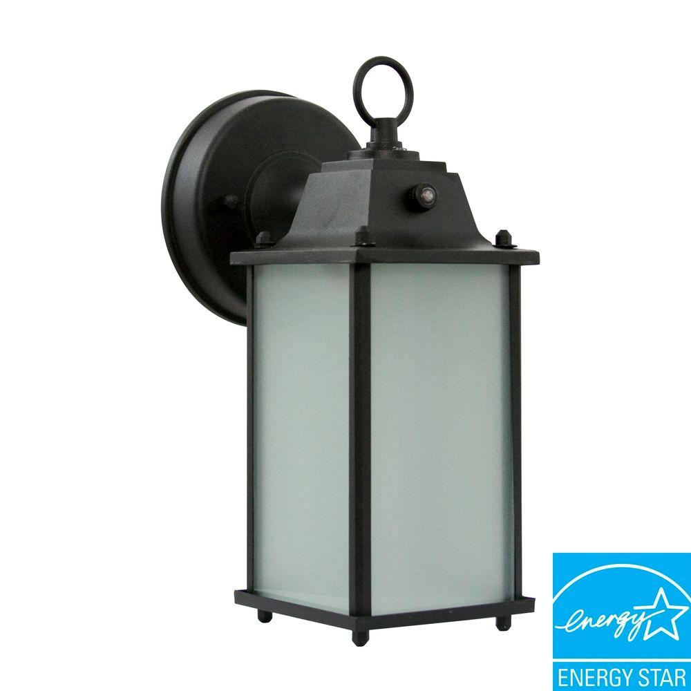 Efficient Lighting Timeless Wall-Mount Outdoor Powder-Coat Black Lantern with Bulbs-DISCONTINUED