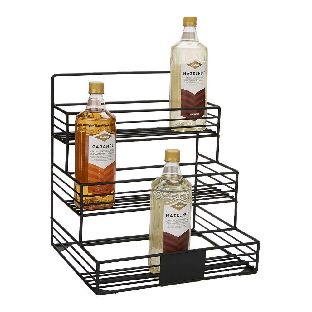Black 12-Capacity Iron Syrup Bottle Holder, Wire Bottle Organizer, Storage for Syrup, Wine, Dressing