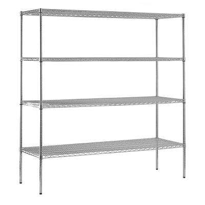 86 in. H x 72 in. W x 36 in. D 4-Shelf Steel Shelving Unit in Chrome