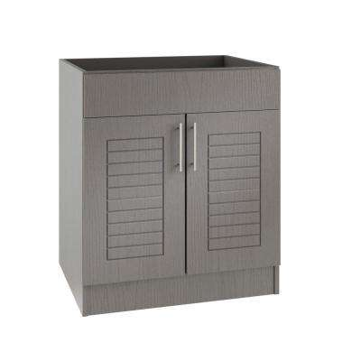 Assembled 30x34.5x24 in. Key West Island Sink Outdoor Kitchen Base Cabinet with 2 Doors in Rustic Gray