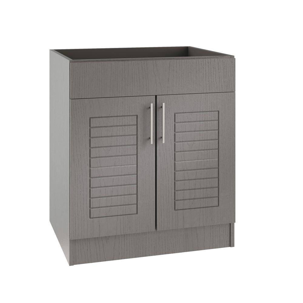 WeatherStrong Assembled 24x34.5x24 in. Key West Open Back Sink Outdoor Kitchen Base Cabinet with 2 Doors in Rustic Gray