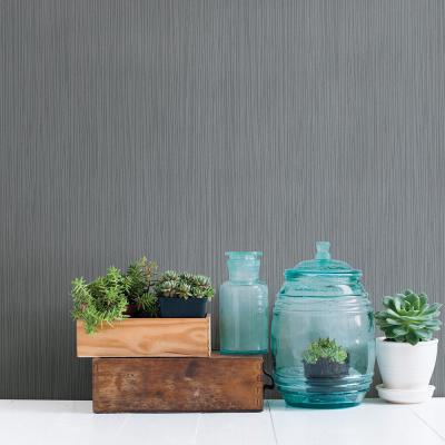 56.4 sq. ft. Ellington Slate Horizontal Striped Texture Wallpaper