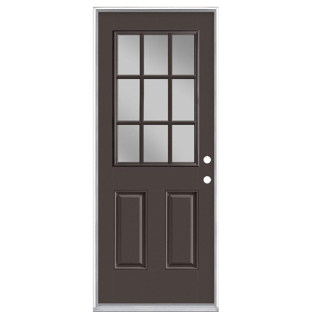 32 in. x 80 in. 9 Lite Willow Wood Left Hand Inswing Painted Smooth Fiberglass Prehung Front Exterior Door, Vinyl Frame
