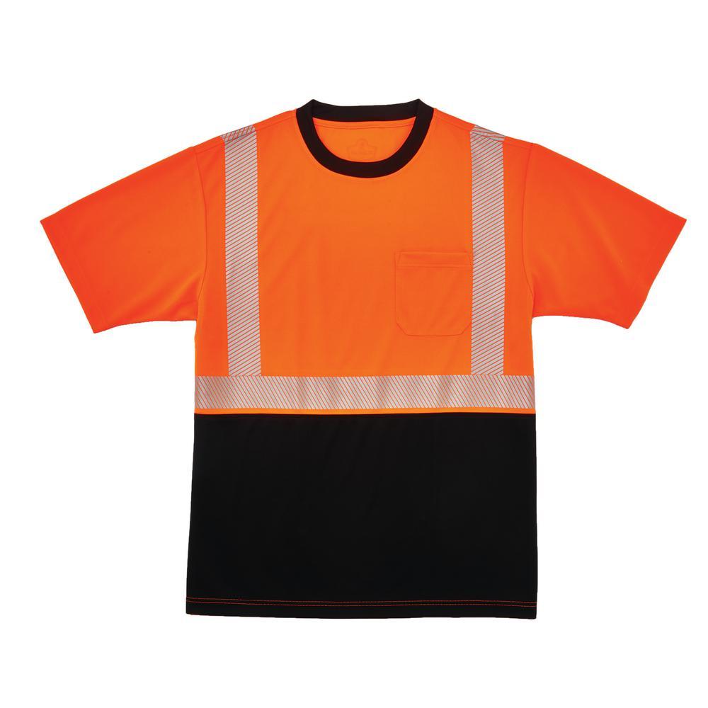 GloWear X-Large Hi Vis Orange Black Front Performance T-Shirt