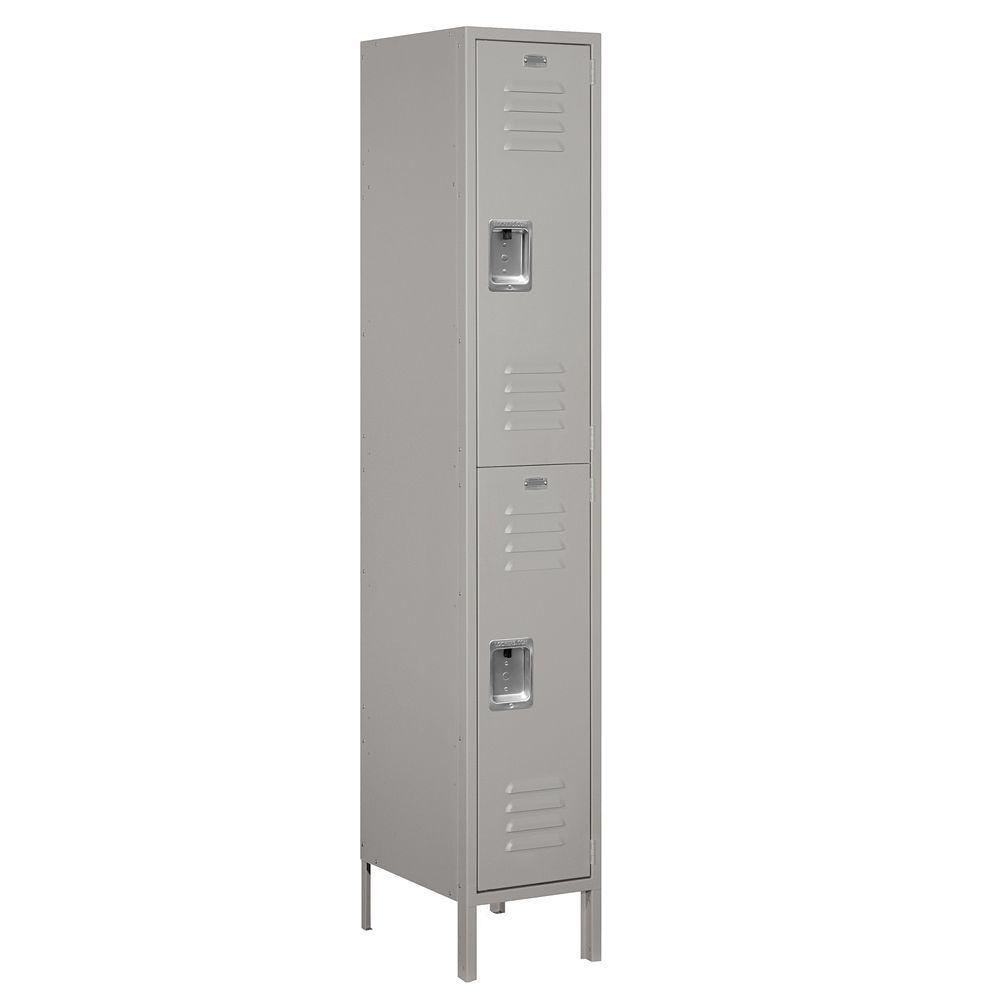 52000 Series 15 in. W x 78 in. H x 18 in. D Double Tier Extra Wide Metal Locker Unassembled in Gray
