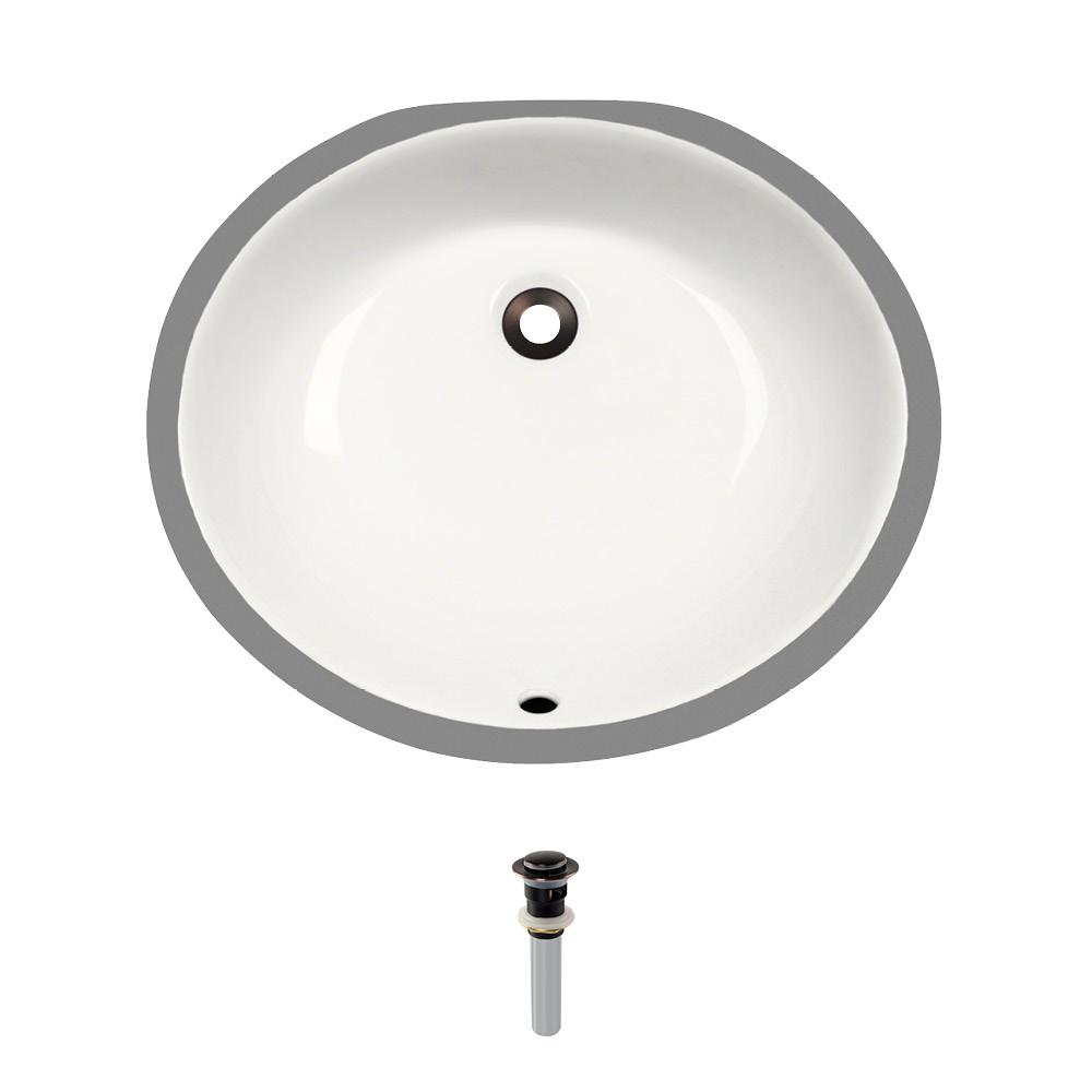 Undermount Porcelain Bathroom Sink in Bisque with Pop-Up Drain in Antique
