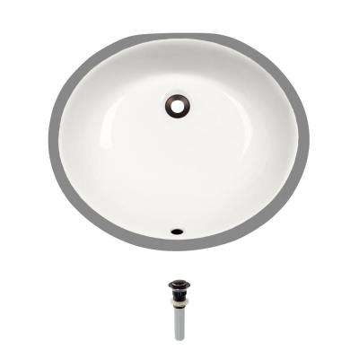 Undermount Porcelain Bathroom Sink in Bisque with Pop-Up Drain in Antique Bronze