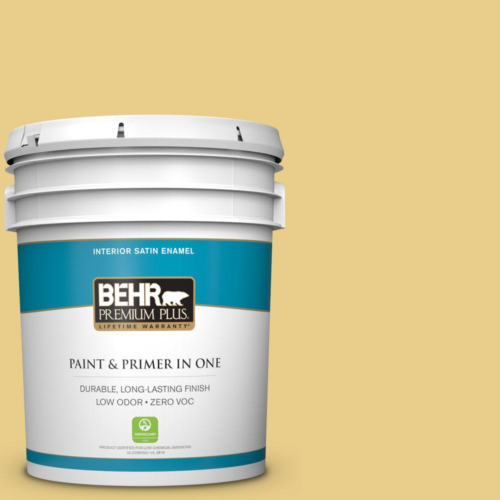 BEHR Premium Plus 5 gal. #T12-6 Lol Yellow Satin Enamel Zero VOC ...