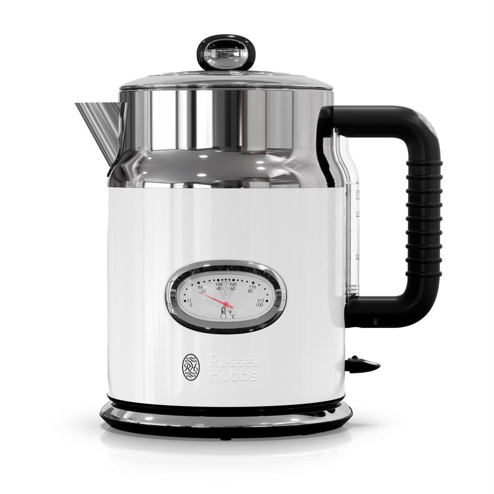 Retro 5-Cup White Stainless Steel Electric Kettle with Filter Retro 5-Cup White Stainless Steel Electric Kettle with Filter