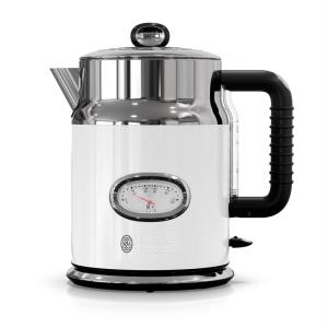 Retro 5-Cup White Stainless Steel Electric Kettle with Filter