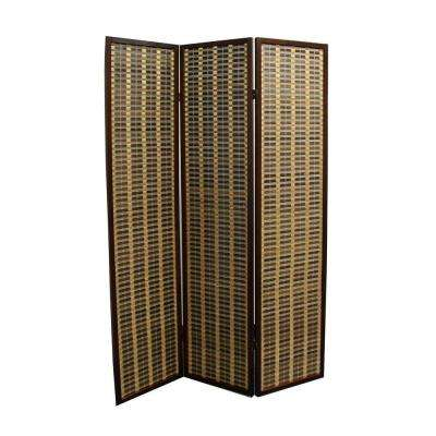 5.85 ft. Brown 3-Panel Room Divider