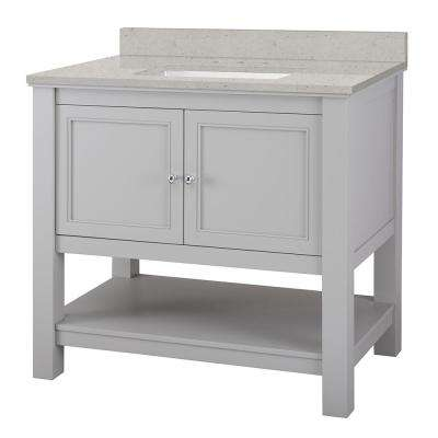 Gazette 37 in. W x 22 in. D Vanity Cabinet in Grey with Engineered Quartz Vanity Top in Stoneybrook with White Sink
