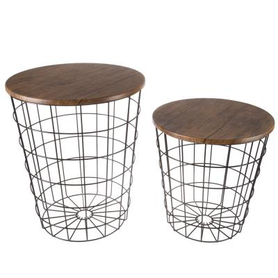 Black/Brown 2-Piece Nesting Veneer Metal and Wood Round Accent Table Set