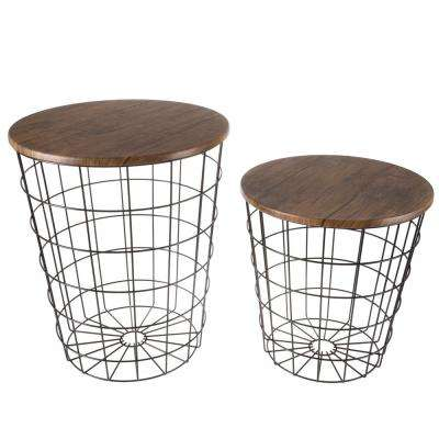 Black 2-Piece Nesting Veneer Metal Round End Table