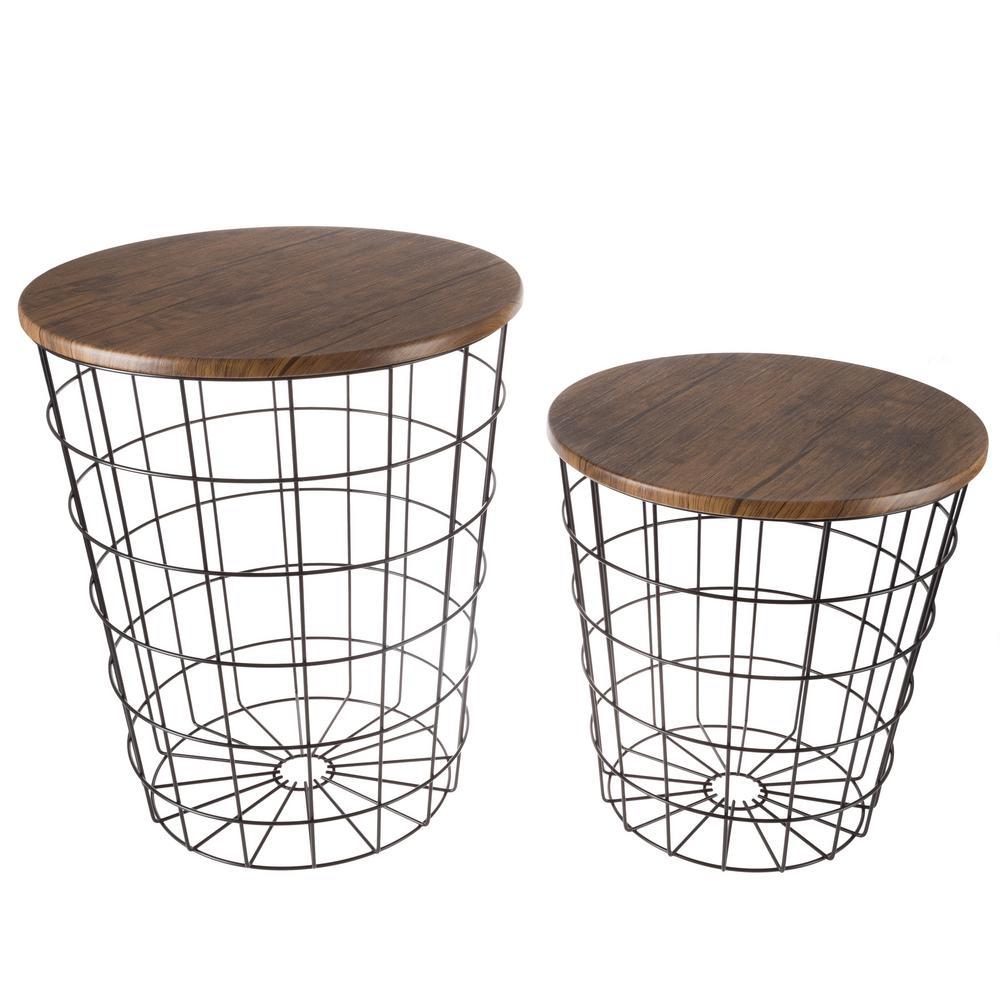 Black 2 Piece Nesting Veneer Metal Round End Table