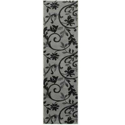 Grace Gray/Black 2 ft. x 7 ft. Plush Indoor Runner Rug