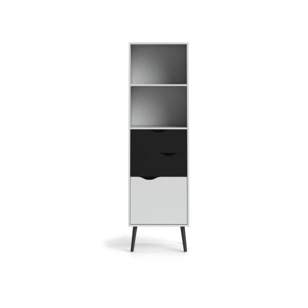 67.44 in. White/Black Matte Wood 2-shelf Standard Bookcase with Doors