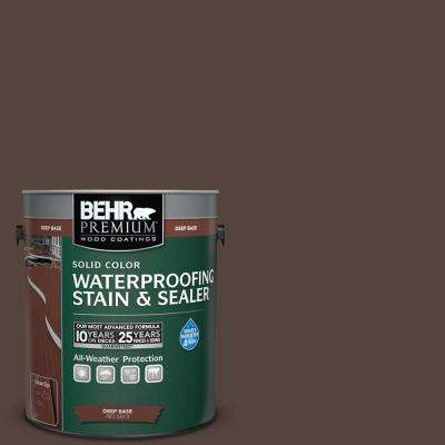 1 gal. #780B-7 Bison Brown Solid Color Waterproofing Exterior Wood Stain and Sealer
