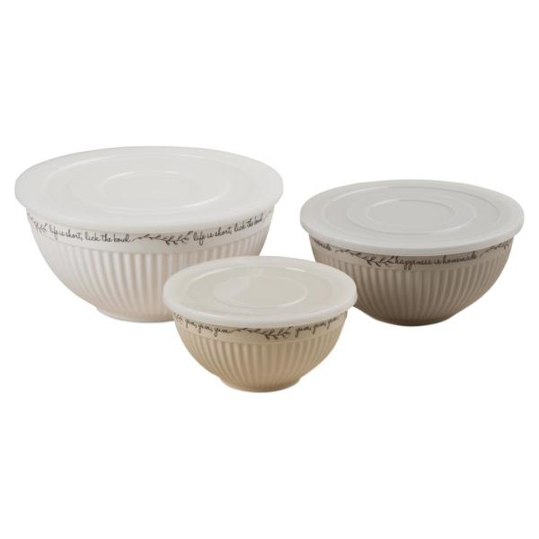 Tag Kitchen Quote 74 oz., 42 oz., 20 oz. Lidded Bowls (Set of 3)