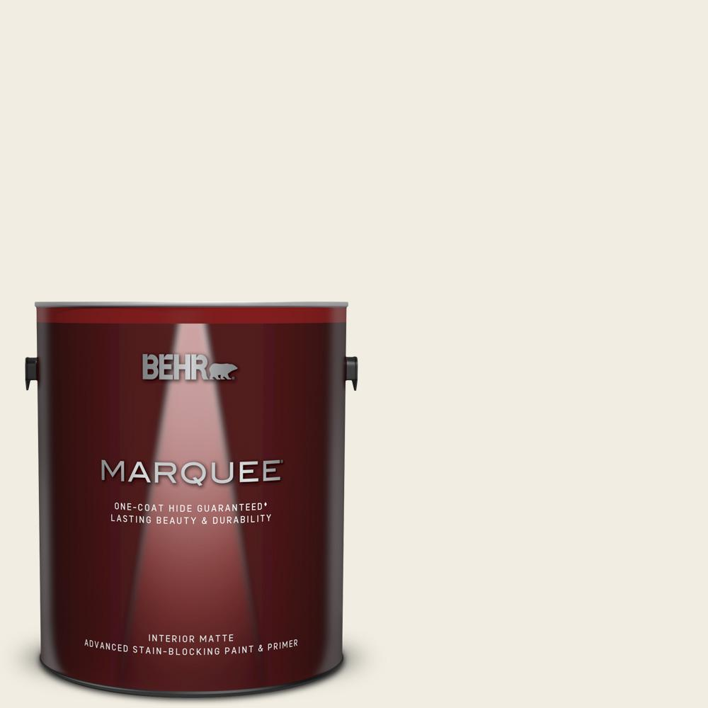 BEHR MARQUEE 1 gal  #QE-01 Jet White Matte Interior Paint and Primer in One
