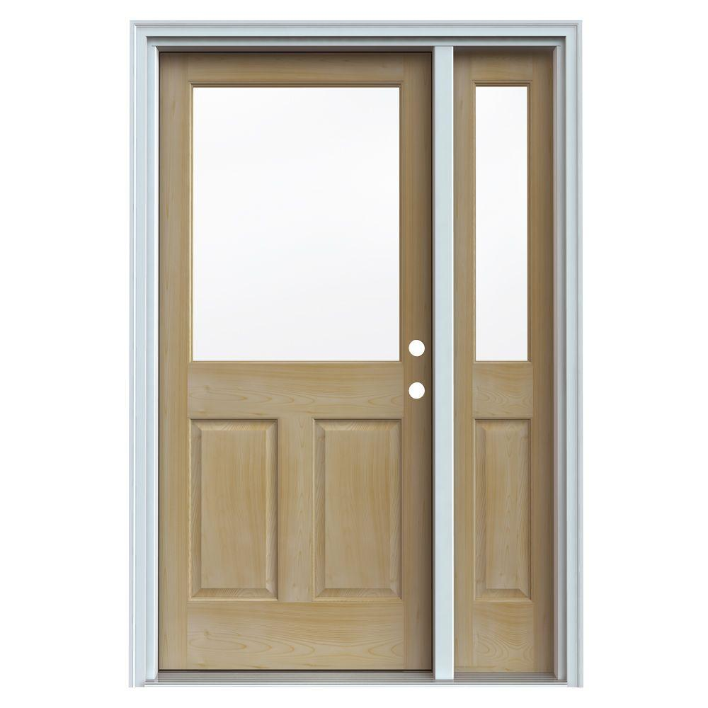 JELD-WEN 1/2 Lite Unfinished AuraLast Pine Wood Prehung Front Door with 14 in. Sidelites & Primed Jamb & Brick-DISCONTINUED