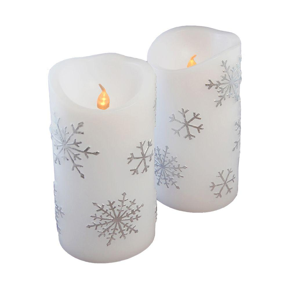 LUMABASE 6 in. Silver Snowflake Flameless Candles (Set of 2)