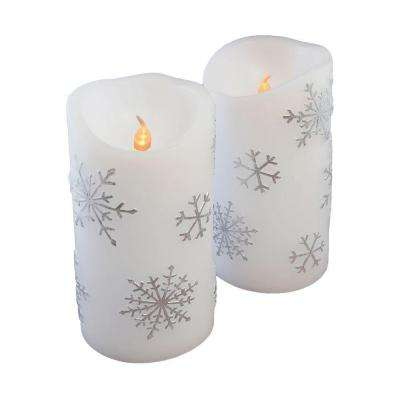 6 in. Silver Snowflake Flameless Candles (Set of 2)