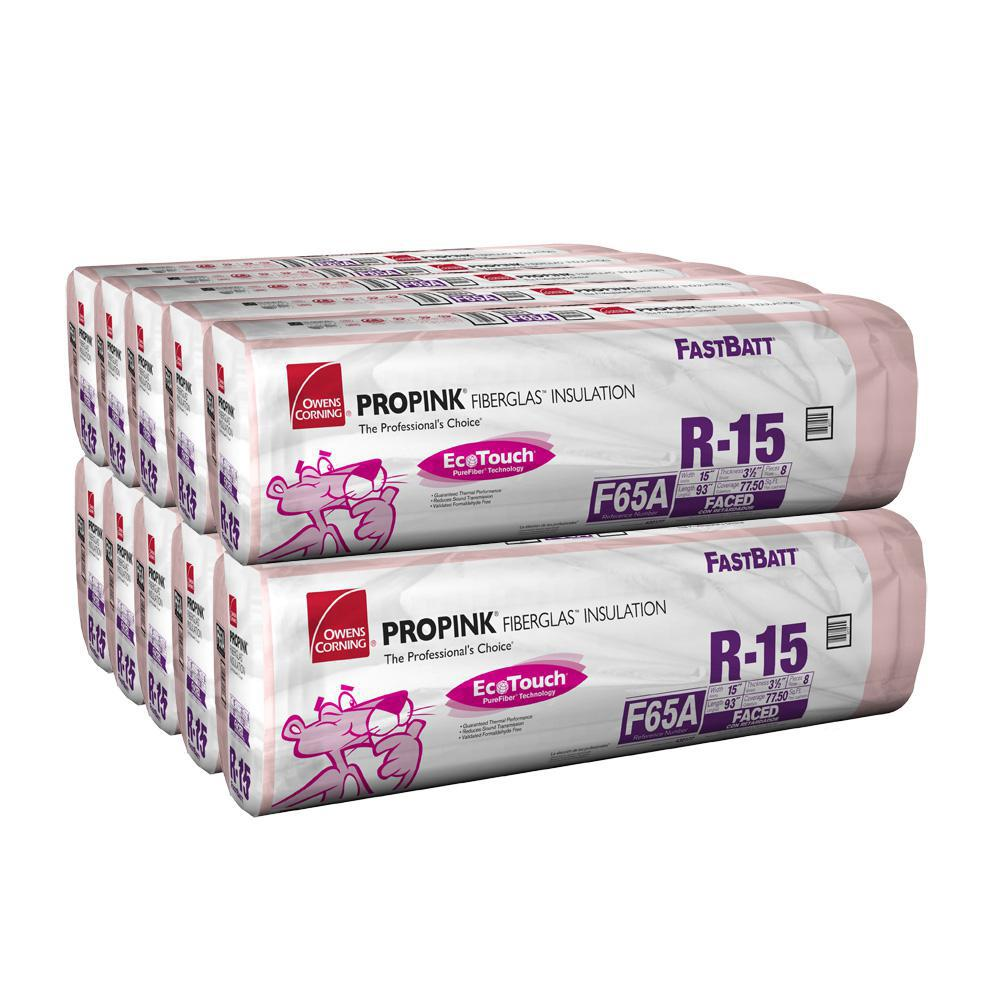 Owens Corning R-15 Kraft Faced Insulation Batts 15 in. x  93 in. (10-Bags)
