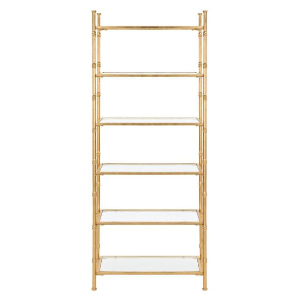 68 in. Gold/Clear Metal 6-shelf Etagere Bookcase with Open Back