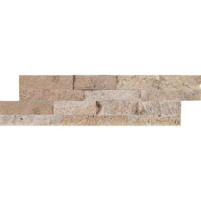 Roman Beige Mini Ledger Panel 4.5 in. x 16 in. Natural Travertine Wall Tile (5 sq. ft. / case)