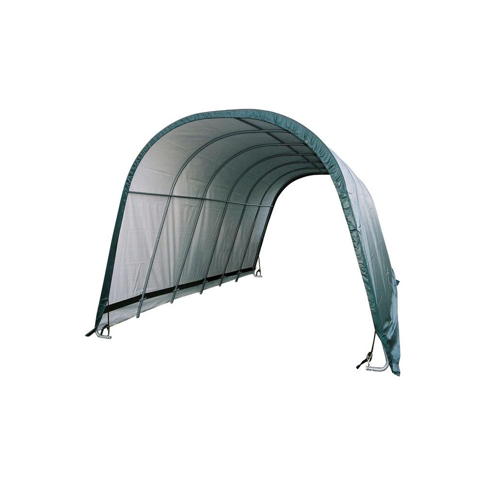 ShelterLogic 12 ft. x 24 ft. x 10 ft. Green Cover Round Style Run-in Shelter