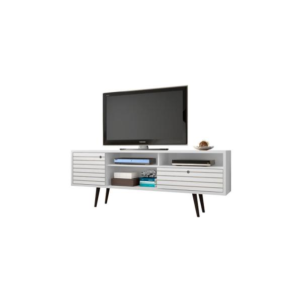 Liberty 71 in. White and Gloss Composite TV Stand with 1 Drawer Fits TVs Up to 65 in. with Storage Doors