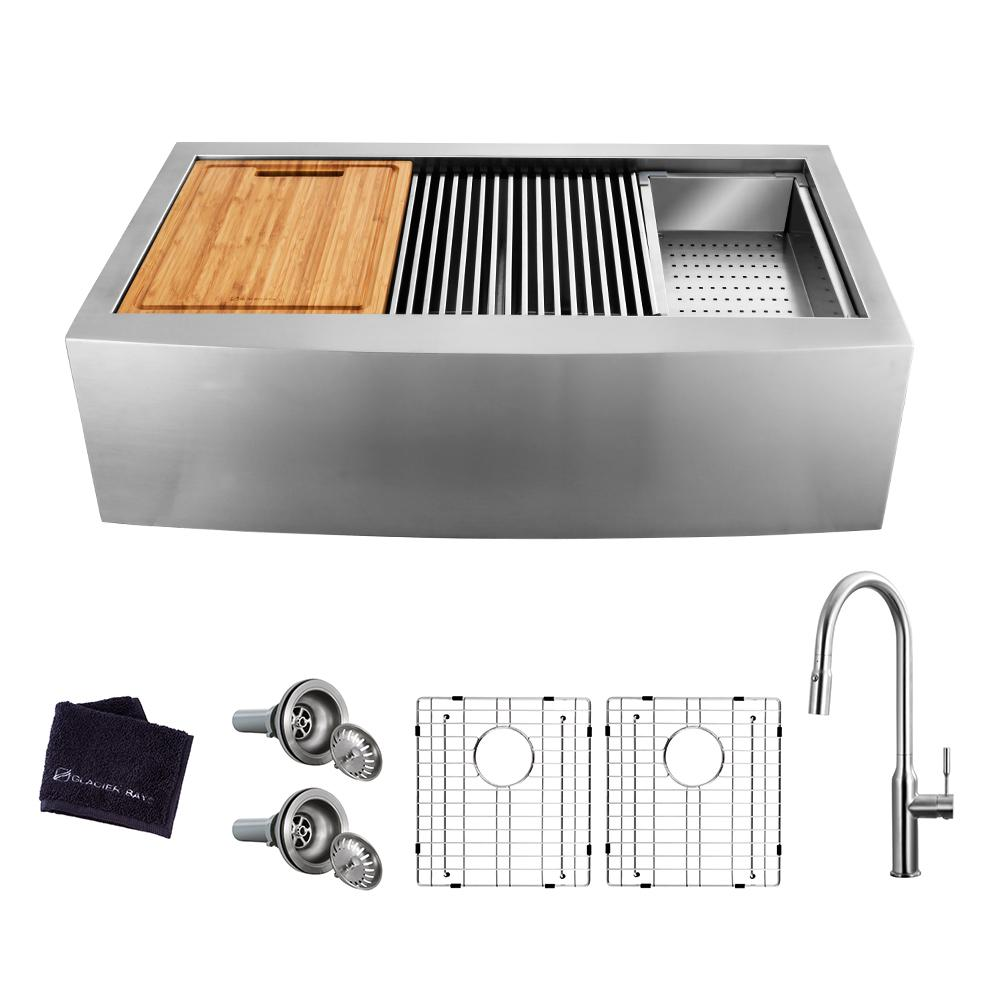 Glacier Bay All-in-One Farmhouse Apron-Front Stainless Steel 36 in. 50/50 Double Bowl Workstation Sink with Faucet and Accessories