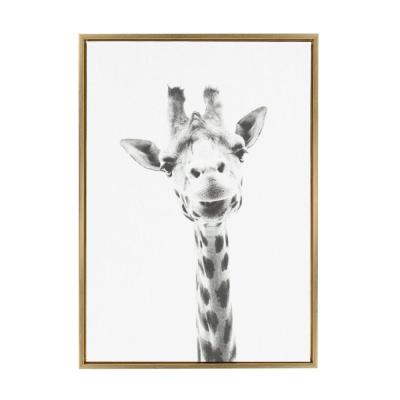 "33 in. x 23 in. ""Giraffe"" by Tai Prints Framed Canvas Wall Art"
