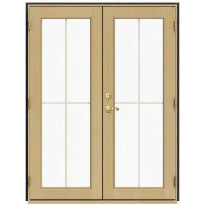 59.5 in. x 79.5 in. W-2500 Chestnut Bronze Left-Hand Inswing French Wood Patio Door