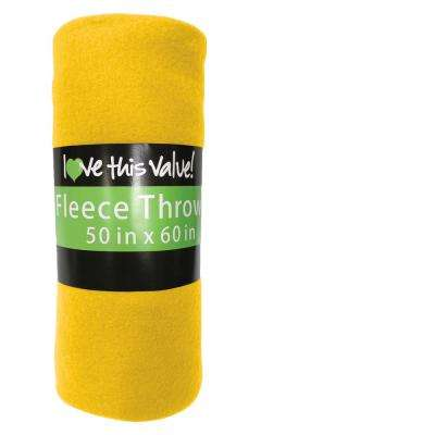 50 in. x 60 in. Yellow Super Soft Fleece Throw Blanket