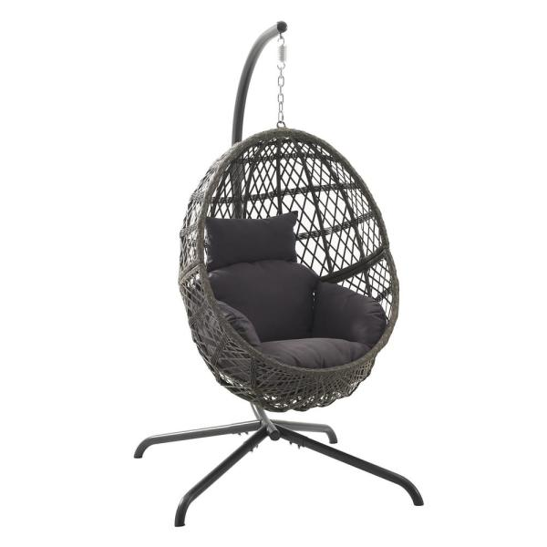 Tess 1-Person Driftwood Wicker Hanging Egg Chair Patio Swing with Gray Cushion
