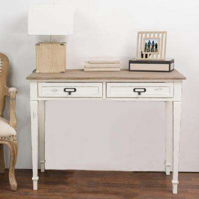 Dauphine White and Light Brown Desk